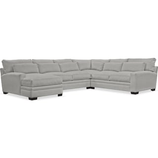 Winston Cumulus 4 Piece Sectional with Left-Facing Chaise - Dudley Gray