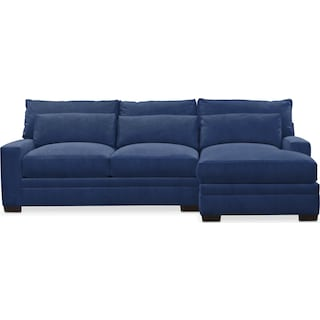 Winston Cumulus 2 Piece Sectional with Right-Facing Chaise - Abington TW Indigo