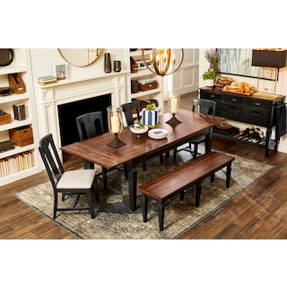 Adler Dining Table, 4 Side Chairs and Bench