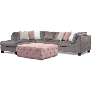 Mackenzie 2-Piece Left-Facing Sectional and Ottoman Set - Gray and Blush