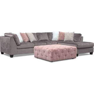 Mackenzie 2-Piece Right-Facing Sectional and Ottoman Set - Gray and Blush