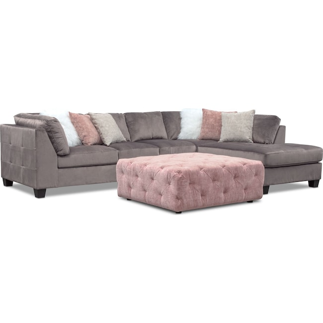 Living Room Furniture - Mackenzie 2-Piece Sectional with Ottoman