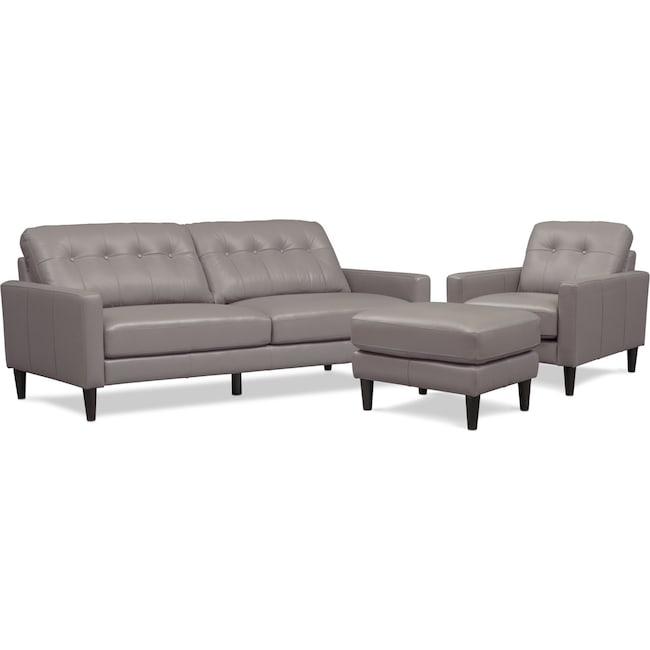 Living Room Furniture - Grant Sofa, Chair and Ottoman - Gray