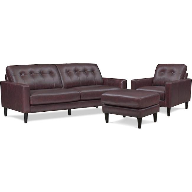 Living Room Furniture - Grant Sofa, Chair and Ottoman Set - Brown