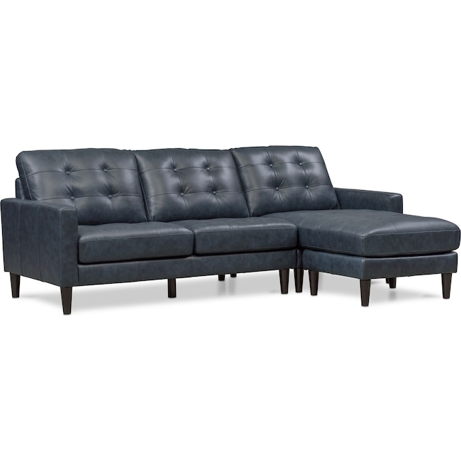 Living Room Furniture - Lincoln 2-Piece Sectional with Right-Facing Chaise - Blue