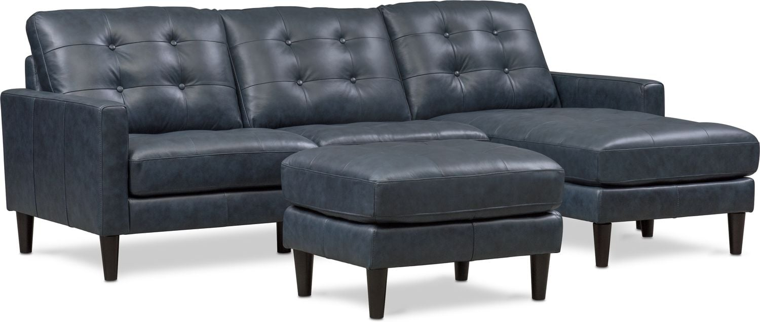 Living Room Furniture - Lincoln 2-Piece Sectional and Ottoman Set
