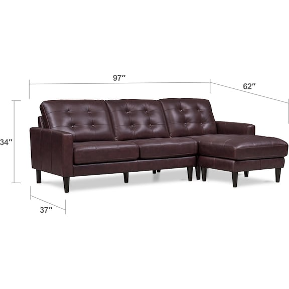 Living Room Furniture - Lincoln 2-Piece Sectional with Right-Facing Chaise