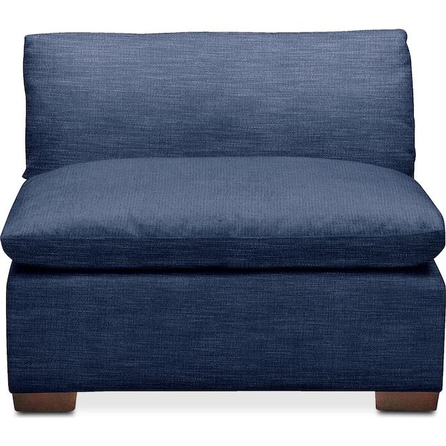 Living Room Furniture - Plush Armless Chair- in Abington TW Indigo