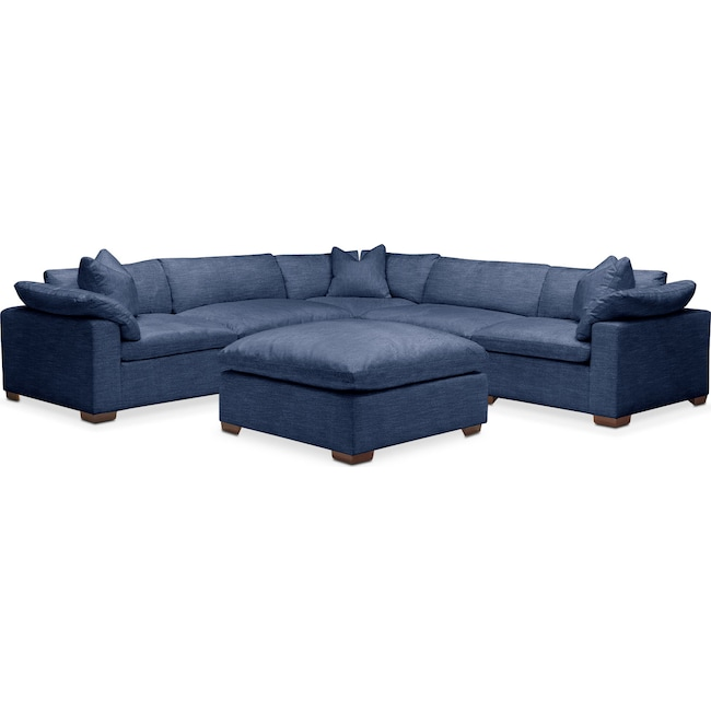 Living Room Furniture - Plush 6 Pc. Sectional- in Abington TW Indigo