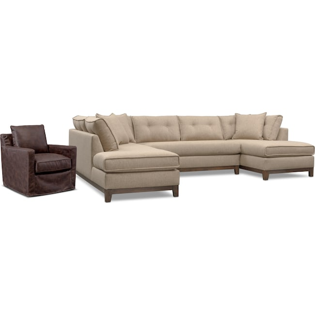 Living Room Furniture - Eastwood 3-Piece Sectional and Swivel Chair Set