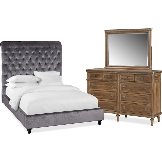 king bedroom sets. Simple Sets Bedroom Furniture  Diana 5Piece King Set Gray And Natural With Sets