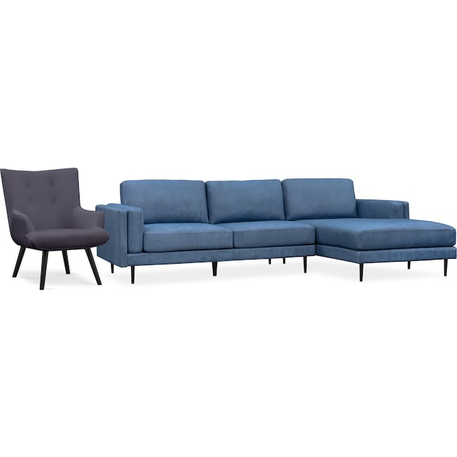 Living Room Furniture - West End 2-Piece Sectional and Accent Chair Set