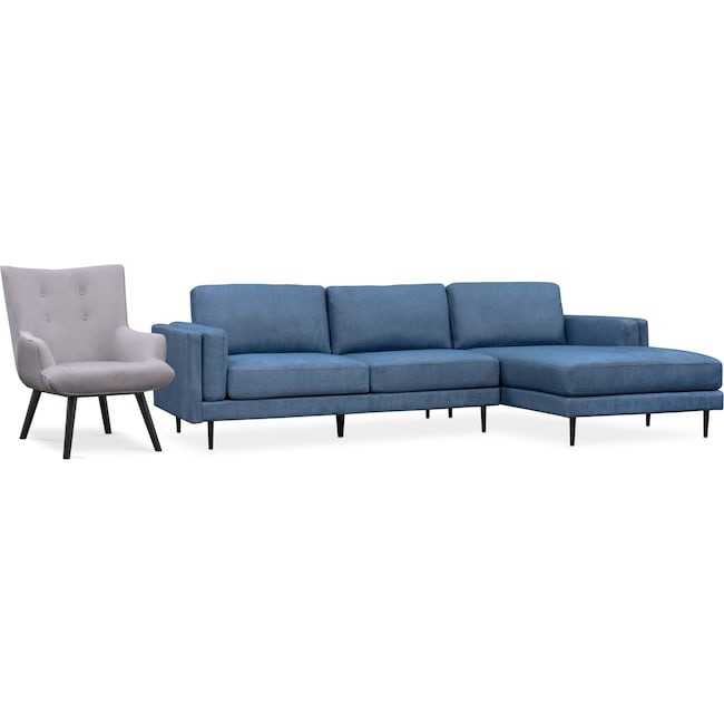 Living Room Furniture - West End 2-Piece Right-Facing Sectional and Accent Chair Set - Blue and Light Gray
