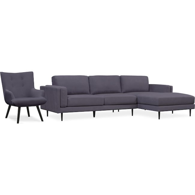 Living Room Furniture - West End 2-Piece Right-Facing Sectional and Accent Chair Set - Gray