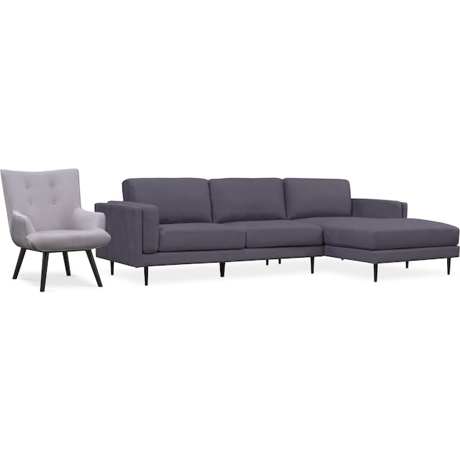 Living Room Furniture - West End 2-Piece Right-Facing Sectional and Accent Chair Set - Gray and Light Gray