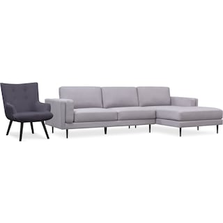 West End 2-Piece Right-Facing Sectional and Accent Chair Set - Light Gray and Gray
