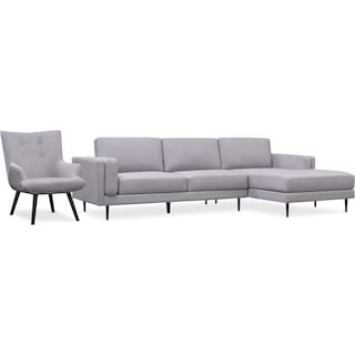 West End 2-Piece Right-Facing Sectional and Accent Chair Set - Light Gray