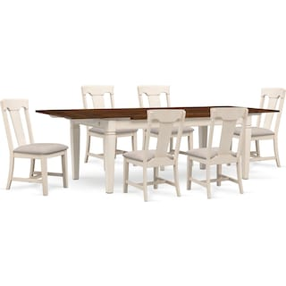 Adler Dining Table and 6 Side Chairs - White