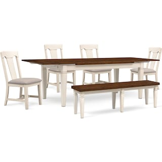 Adler Dining Table, 4 Side Chairs and Bench - White