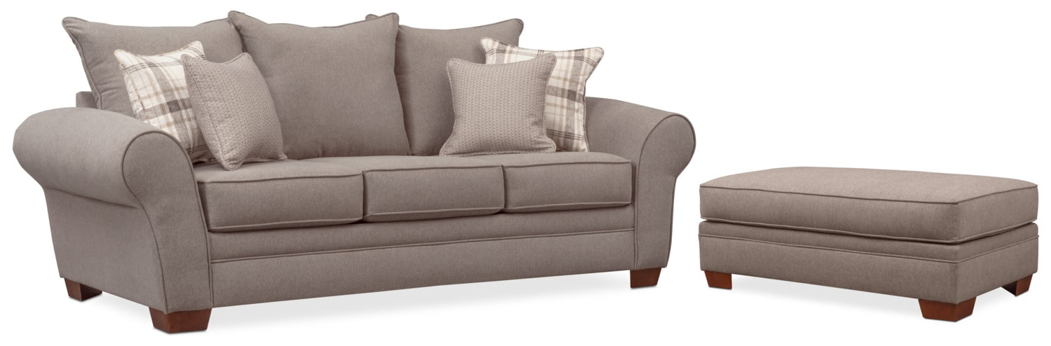 Living Room Furniture - Rowan Sofa and Ottoman Set - Gray
