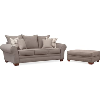 Rowan Sofa and Ottoman Set - Gray