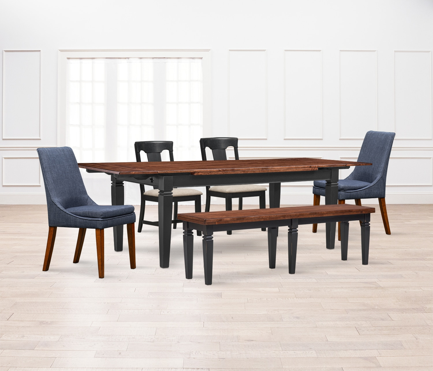 Dining Room Table For 2: Adler Dining Table, 2 Side Chairs, 2 Upholstered Side