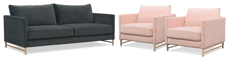 Alex Sofa And 2 Chairs Set Blush Green