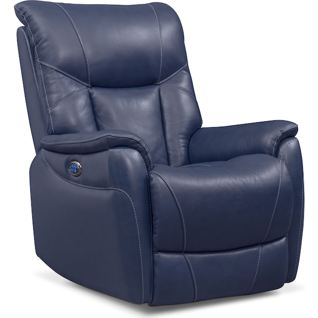 Living Room Furniture - Falcon Triple Power Recliner - Blue