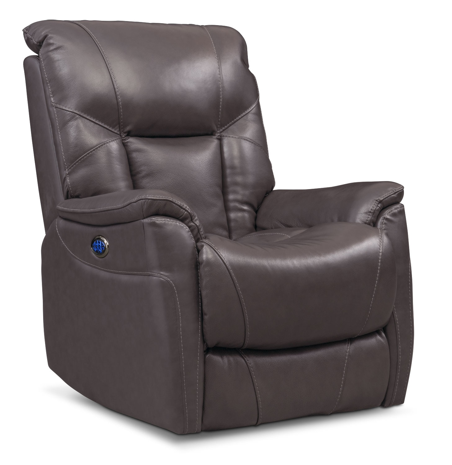 Living Room Furniture - Falcon Triple-Power Leather Recliner