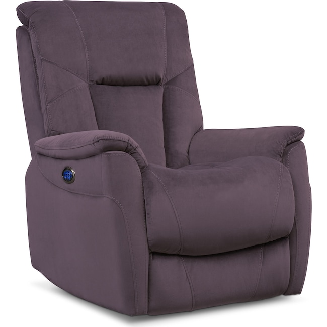 Living Room Furniture - Falcon Triple Power Recliner - Gray