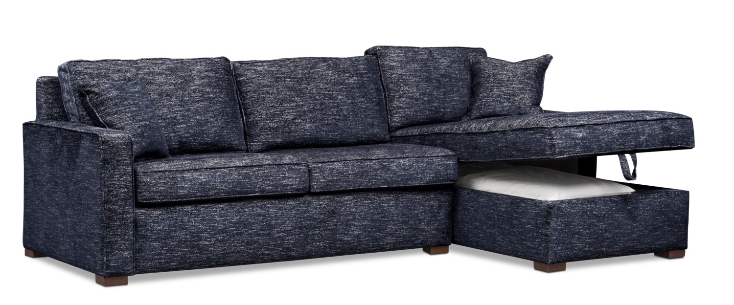 Mayson 2 Piece Full Innerspring Sleeper Sectional With Right Facing Chaise    Navy