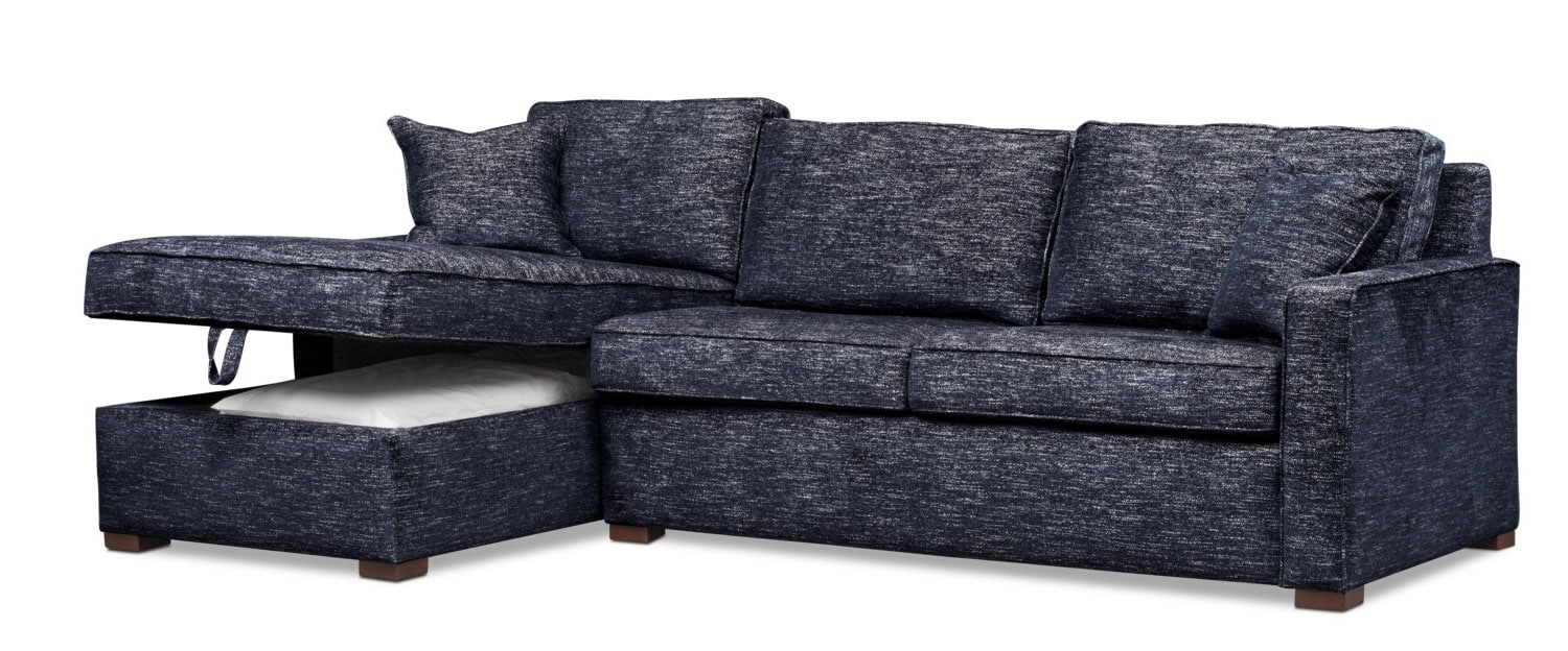 Mayson 2 Piece Full Innerspring Sleeper Sectional With Left Facing Chaise    Navy