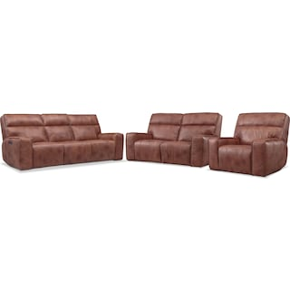 Bradley Triple-Power Reclining Sofa, Loveseat and Recliner - Brown