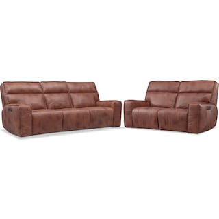 Bradley Triple-Power Reclining Sofa and Loveseat Set - Brown