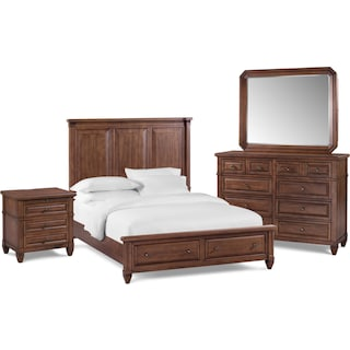 Rosalie 6-Piece Queen Storage Bedroom Set - Chestnut