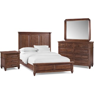 Rosalie 6-Piece Bedroom Set with Nightstand, Dresser and Mirror
