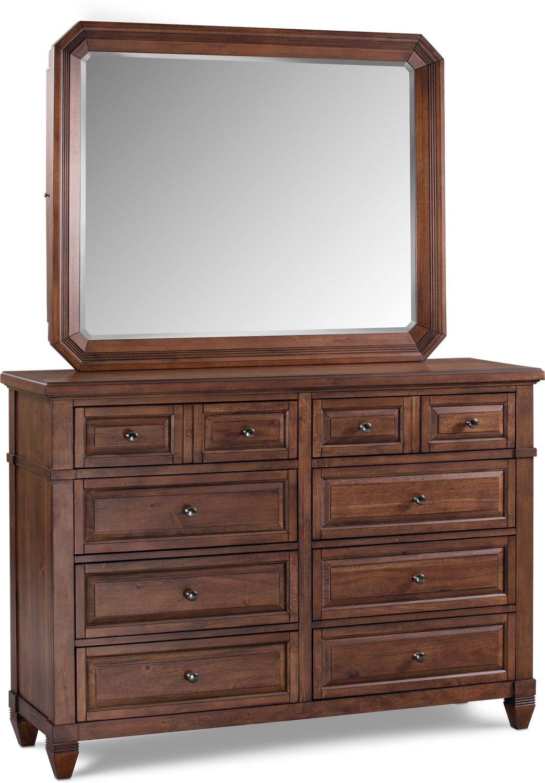 Bedroom Furniture - Dresser and Mirror - Chestnut