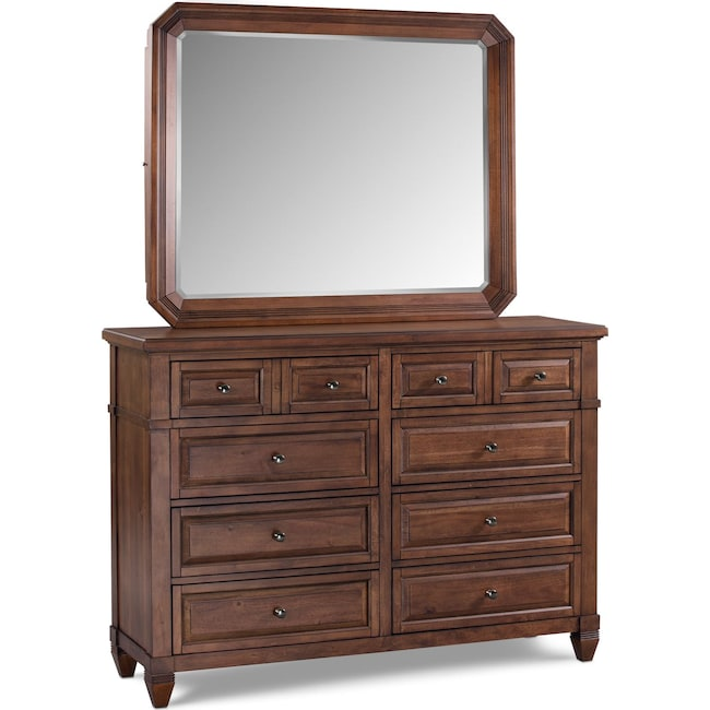 Bedroom Furniture - Dresser and Mirror - Chestnut