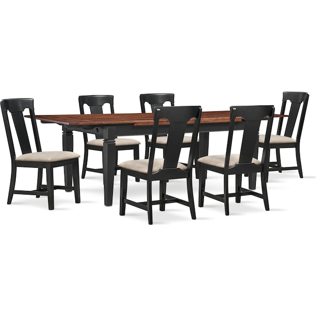 The Adler Extendable Table From Iq Furniture: Adler Dining Table And 6 Side Chairs - Black