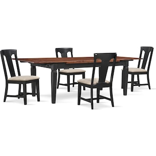 Adler Dining Table and 4 Side Chairs - Black