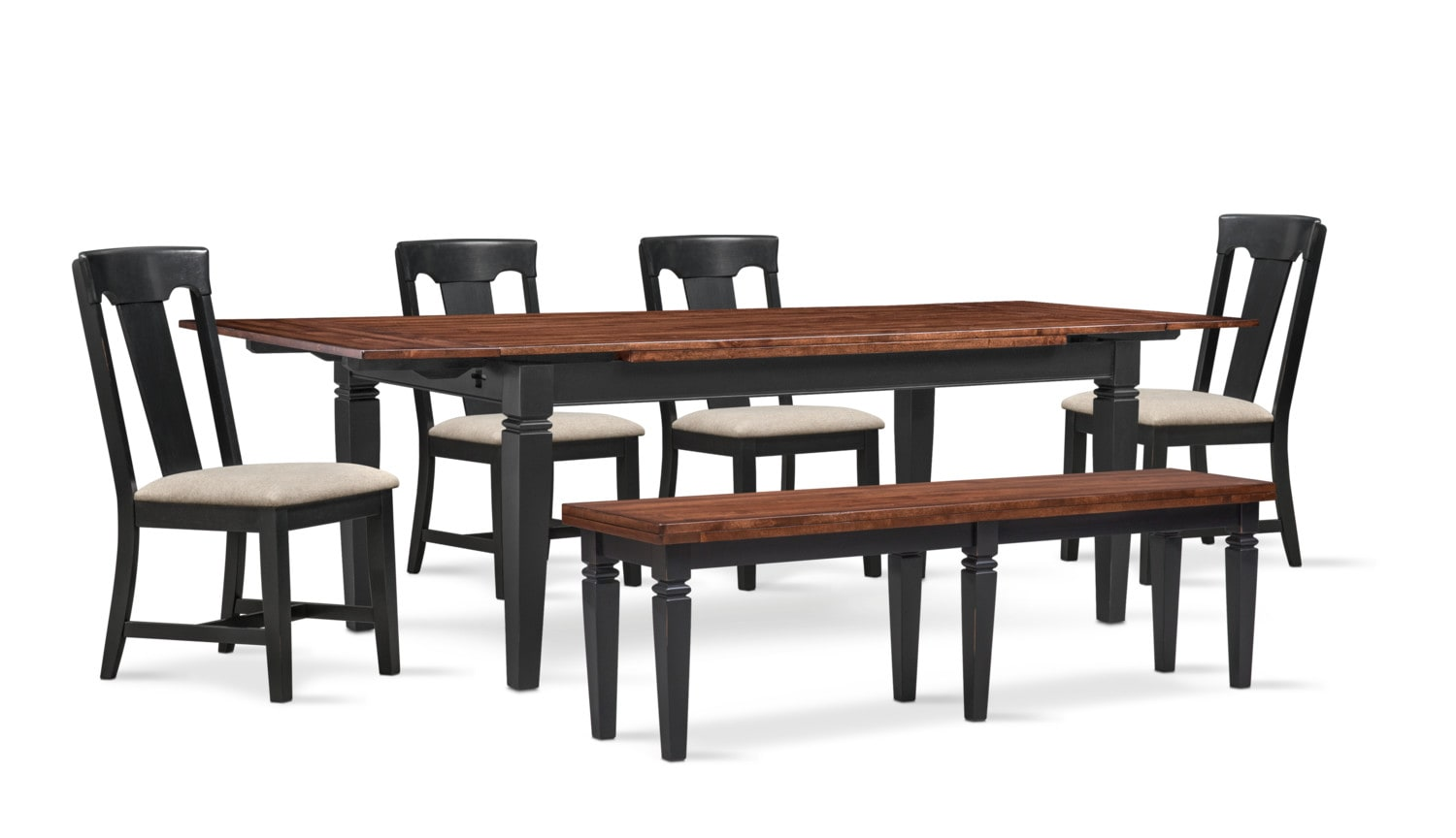 Dining Room Furniture - Adler Dining Table, 4 Side Chairs and Bench