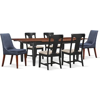 Adler Dining Table, 4 Side Chairs and 2 Upholstered Side Chairs