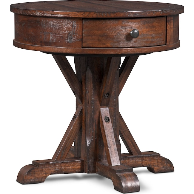 Accent and Occasional Furniture - Sheffield Round End Table - Walnut