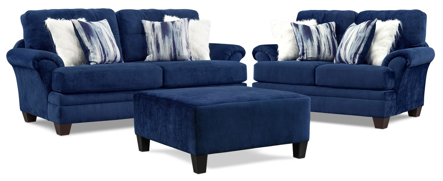 Cordelle Sofa Loveseat And Tail Ottoman Set