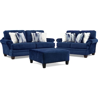 Cordelle Sofa, Loveseat and Cocktail Ottoman Set - Blue