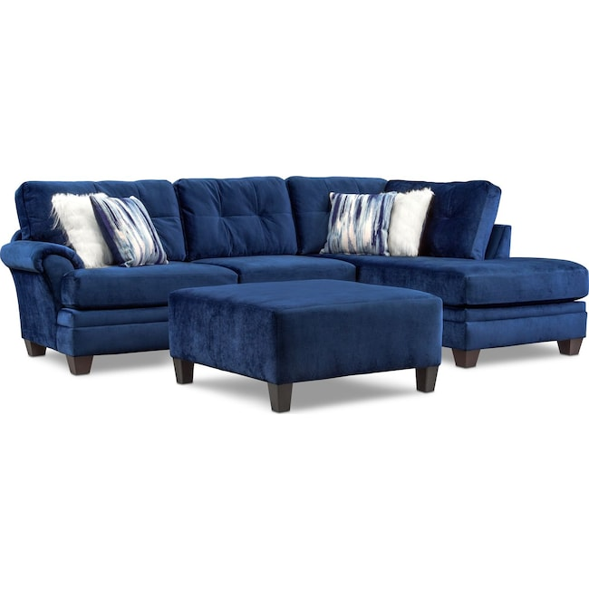 Living Room Furniture - Cordelle 2-Piece Sectional with Right-Facing Chaise and Cocktail Ottoman Set - Blue