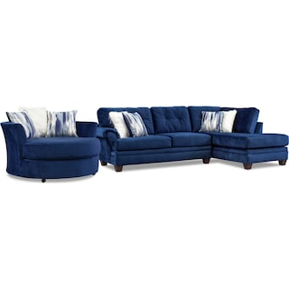 Cordelle 2-Piece Sectional with Right-Facing Chaise and Swivel Chair Set - Blue