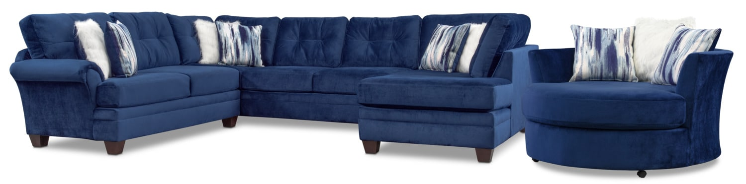 Living Room Furniture - Cordelle 3-Piece Sectional and Swivel Chair Set - Blue