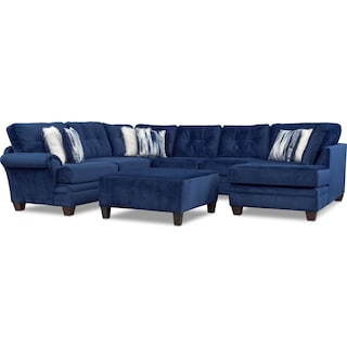 Cordelle 3-Piece Sectional and Cocktail Ottoman Set - Blue