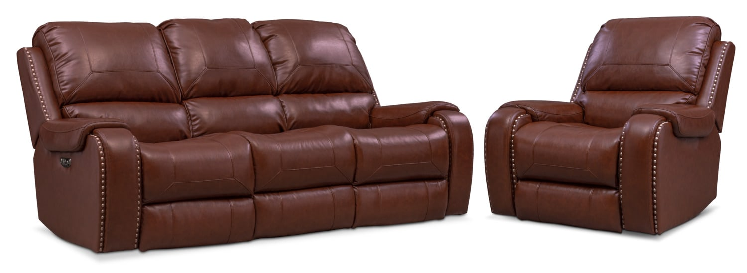 Living Room Furniture - Austin Dual-Power Reclining Sofa and Recliner Set
